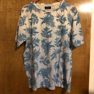 Zara Man Floral Patterned Short Sleeve T-Shirt
